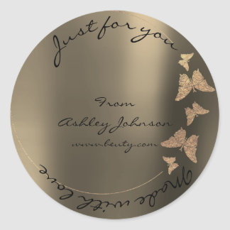 Made Love For You Name Butterfly Foxier Blush Gold Classic Round Sticker