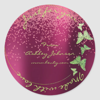 Made Love For You Name Butterfly Greenly Burgundy Classic Round Sticker