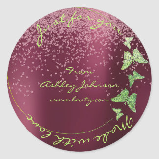 Made Love For You Name Butterfly Greenly Burgundy Round Sticker