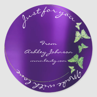 Made Love For You Name Butterfly Greenly Purple Classic Round Sticker