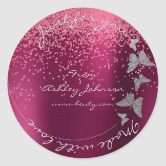 Made Love For You Name Butterfly Silver Burgundy Classic Round Sticker