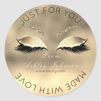 Made  Love Glitter Lashes Beauty Gold Faux Makeup Classic Round Sticker