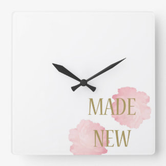 Made New Gold + Pink Square Wall Clock