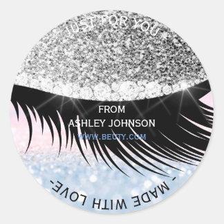 Made Wit Love Glam Diamond Eye Silver Pink Glitter Round Sticker