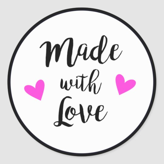 Made with love black, white and pink craft sticker