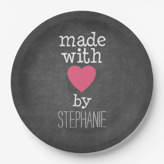 Made With Love By You - hot pink and chalkboard Paper Plate