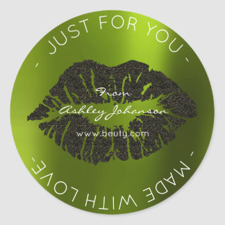 Made With Love Cali Green Black Makeup Lips Kiss Classic Round Sticker
