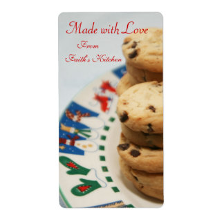 Made with Love Cookie Holiday Baking Kitchen Label Shipping Label