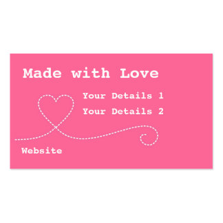 Made with Love Craft Business Tags - Deep Pink Business Card Template