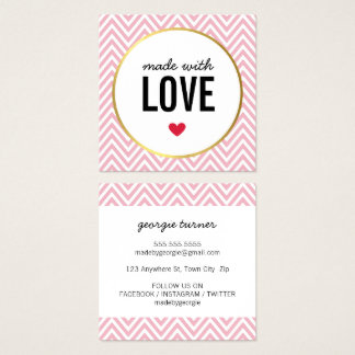 MADE WITH LOVE cute packaging chevron black pink Square Business Card