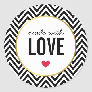 MADE WITH LOVE cute packaging chevron black white Round Sticker