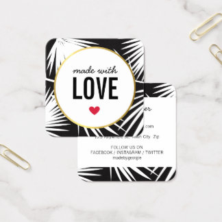 MADE WITH LOVE cute packaging palm leaves black Square Business Card