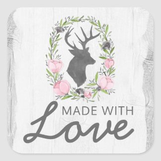 Made With Love Deer Silhouette Floral Wreath Cameo Square Sticker