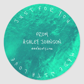 Made With Love For You Name Blue Emerald Green Classic Round Sticker