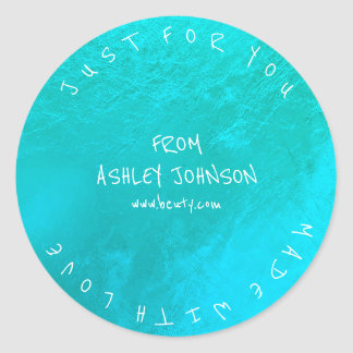 Made With Love For You Name Blue Ocean Tiffany Classic Round Sticker