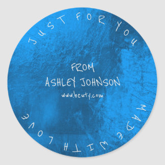 Made With Love For You Name Blue Sapphire Meatllic Classic Round Sticker