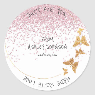 Made With Love For You Name Butterfly Gold Pink Round Sticker