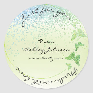 Made With Love For You Name Butterfly Greenly Mint Round Sticker