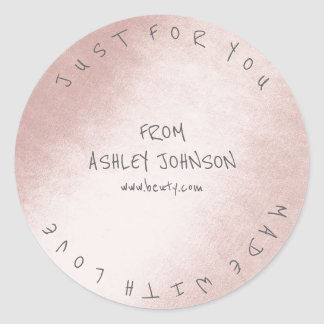 Made With Love For You Name Gray Pink Pastel Round Sticker