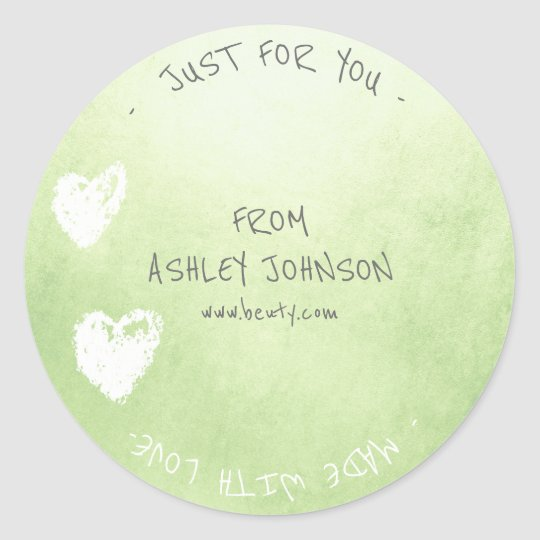 Made With Love For You Name Heart Mint Green White Classic Round Sticker