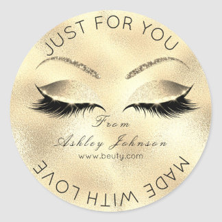 Made With Love Glitter Lashes Gold Faux Makeup Classic Round Sticker