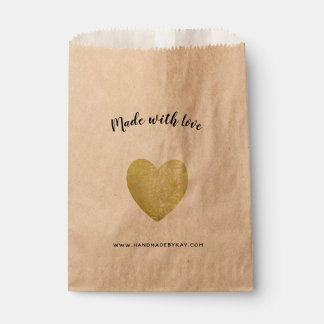 Made with Love • Gold Foil Heart Handmade Favour Bag