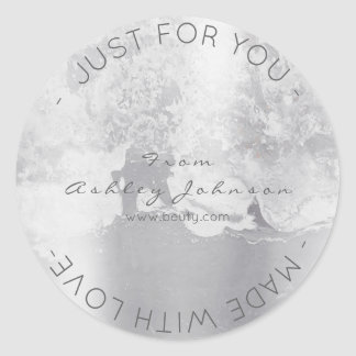 Made With Love Grungy Metallic Silver Gray Minimal Classic Round Sticker