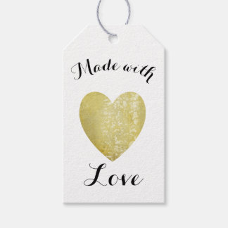 Made with Love Heart Stamp Faux Gold Foil Pack Of Gift Tags