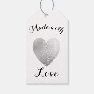 Made with Love Heart Stamp Faux Silver Foil Gift Tags