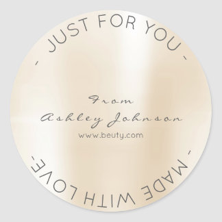 Made With Love Metallic Ivory Pearl Creamy Pastel Round Sticker