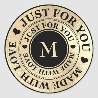 Made With Love Monogram Black Gold Black Sepia Classic Round Sticker