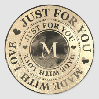 Made With Love Monogram Black Gold Sepia Ink Classic Round Sticker