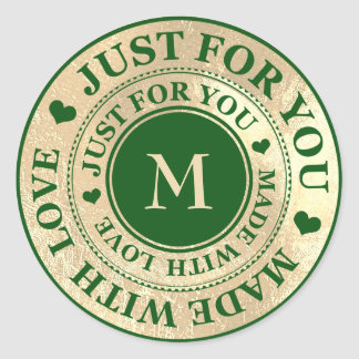 Made With Love Monogram Gold Cali Green Grass Classic Round Sticker
