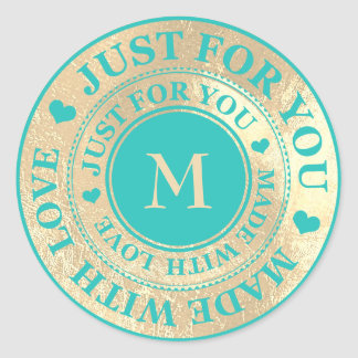 Made With Love Monogram Gold Tiffany Mint Blue Classic Round Sticker