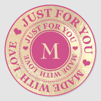 Made With Love Monogram Pink Gold Black Sepia Classic Round Sticker