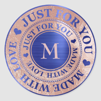 Made With Love Monogram Rose Gold Cobalt Blue Classic Round Sticker