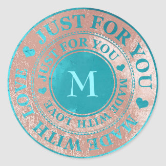 Made With Love Monogram Rose Gold Tiffany Blue Classic Round Sticker