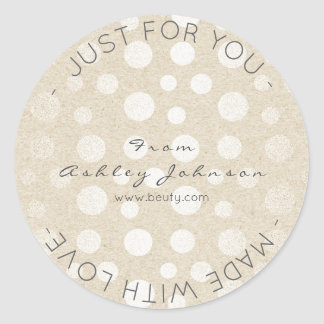 Made With Love Pearl Ivory  Pastel Dots Round Sticker