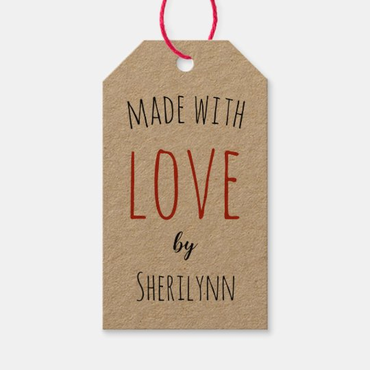Made with Love Personalized Kraft Gift Tags