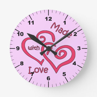 """""""Made with Love Pink"""" Round Clock"""