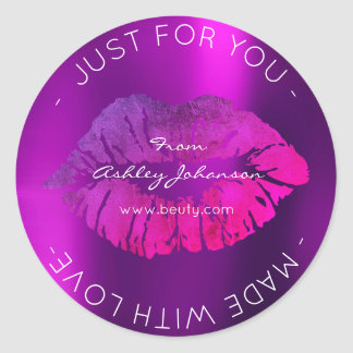 Made With Love Purple Bright Pink Makeup Lips Classic Round Sticker