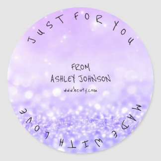 Made With Love Purple Lilac Glitter Sparkly Round Sticker