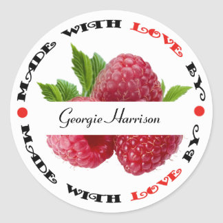 Made with Love Raspberry Round Sticker
