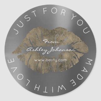 Made With Love Sepia Gold Silver Gray Makeup Lips Round Sticker