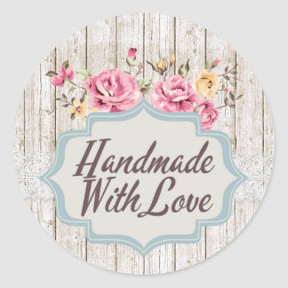 Made With Love Shabby Chic Roses Product Packaging Classic Round Sticker