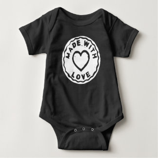 Made with love stamp heart black Baby Bodysuit