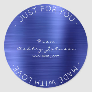 Made With Love Steel Cobalt Blue  Metallic Shiny Round Sticker