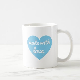 Made with love text design in blue heart, word art coffee mug