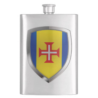 Madeira Metallic Emblem Hip Flask