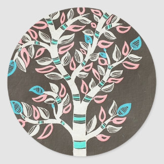 Madhubani tree classic round sticker